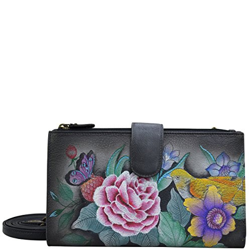 (Anuschka Handpainted Leather | Cell Phone Wallet | Cell Phone and Credit Card Holder | Clutch or Crossbody Style/Removable Strap | Vintage Bouquet)