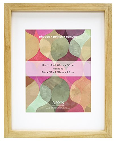MCS 11x14 Inch Art Frame with 8x10 Inch Mat Opening, Natural Finish (Pine Shadow)