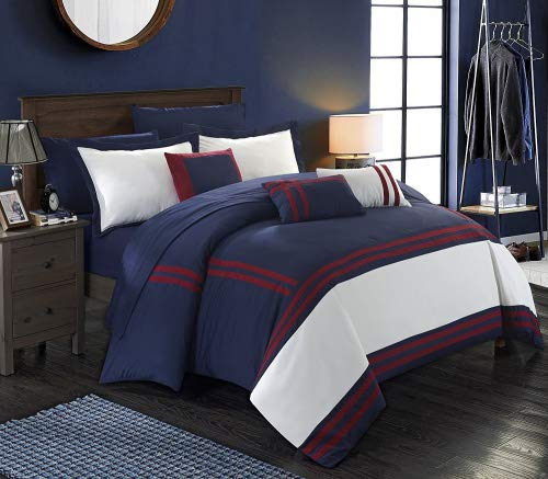 Chic Home Zarah 10 Piece Comforter Set Complete Bed in a Bag Pieced Color Block Banding Bedding with Sheet Set and Decorative Pillows Shams Included, King Navy ()