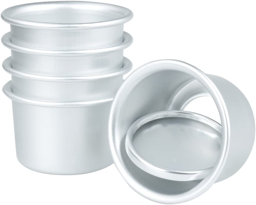 5Pcs 2Inch Aluminum Round Mini Cake Pan Mold Non Stick Tray Baking Tin Removable