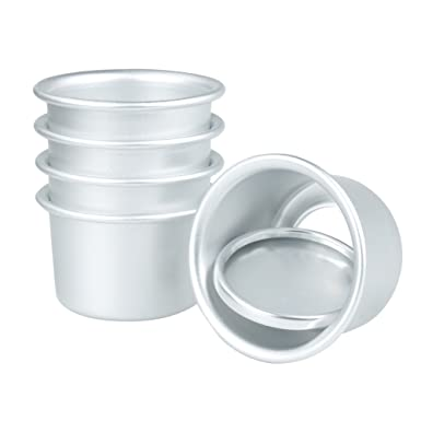 Freebily 5 Pcs Moldes de 2 inchces para Pastel Pan DIY Herramientos Molde Redondo de Aleación de Aluminio para Mini Pastel Fondo Removible Plata 6 cm: ...