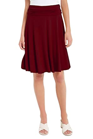 debcf9156d 12 Ami Solid Basic Fold-Over Stretch Midi Short Skirt - Made in USA at  Amazon Women's Clothing store: