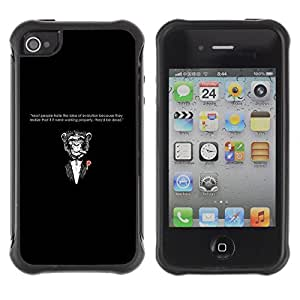 Hybrid Anti-Shock Defend Case for Apple iPhone 4 4S / Godfather Moneky & Evolution