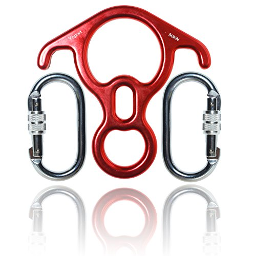 Heavy Duty Locking Carabiners, Yoport 50KN Rescue Figure 8 Descender & 2 25KN Screwgate Locking Climbing Carabiners, Outdoor O-ring Hook Rappel Device for Rappelling Belaying Rock Climbing Yoga Hiking (Carabiner Anodized Screwgate)