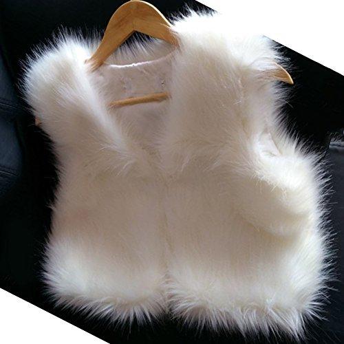 Outwear sans Femmes Fourrure Blanc Manches Veste Long Gilet Manteau Faux Vest OEEwq0r