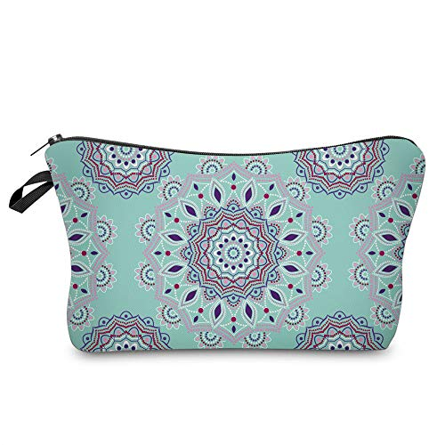 Cosmetic Bag for Women,Deanfun Mandala Flowers Waterproof Makeup Bags Roomy Toiletry Pouch Travel Accessories Gifts (51456)
