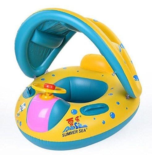 Homespun Float Seat Boat With Canopy Yellow Blue Sunshade Inflatable Swim Swimming Ring Pool Raft Baby Kid Gift