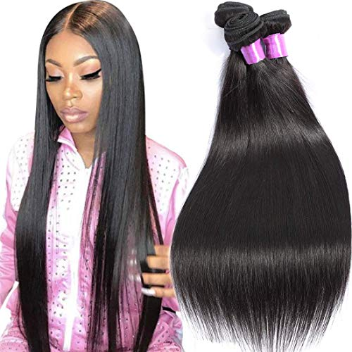 AUTTO Hair Brazilian Virgin Hair Straight Remy Human Hair 3 Bundles Weaves 100% Unprocessed Hair Extensions Natural Black Color 26 26 26Inch