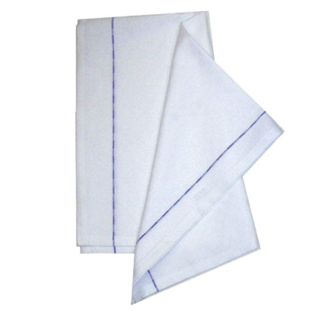 Sleep&Beyond 100% Cotton Blue Stripe Waiters Cloth (White, 10 Pack) Sleep and Beyond