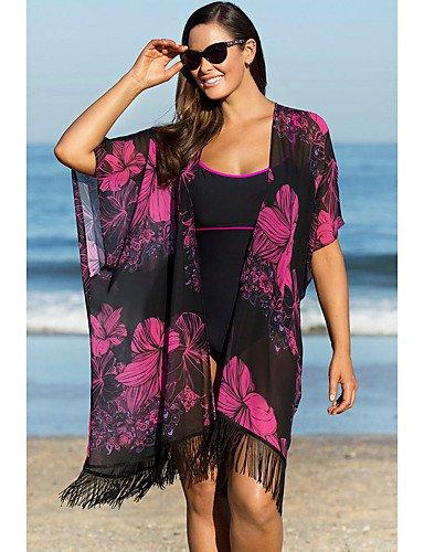PU&PU Robes Légères Aux femmes Franges / Fleur / Couleur Pleine / Bandage / Géometrique Sans Armature Licou Polyester , fuchsia-one-size , fuchsia-one-size