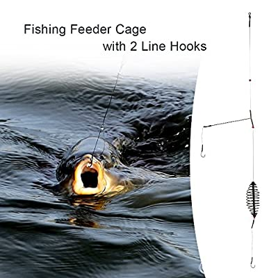 Docooler Fishing Bait Lure Cage with 2 Line Hooks Carp Feeder Fishing Tackle Accessories 7cm/9cm