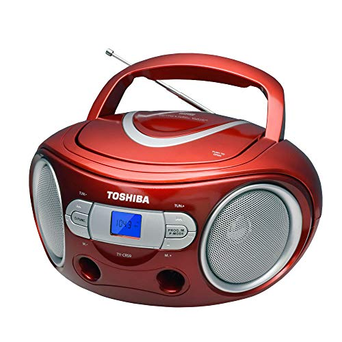 R Toshiba TY-CRS9 Red Portable CD FM Radio Stereo Boombox With Aux Input