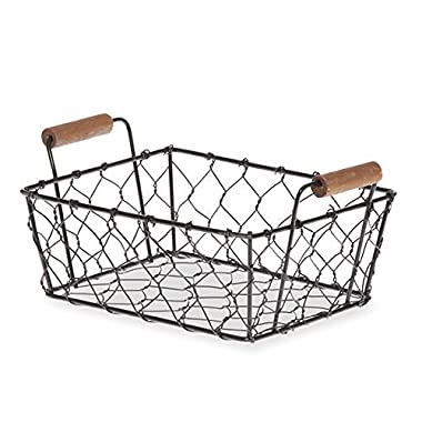 The Lucky Clover Trading Mini Rectangular Wire Mesh Utility Basket with Side Handles, Black
