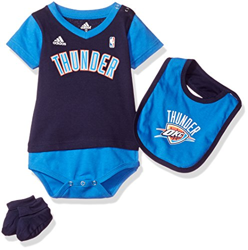 OuterStuff NBA Infant Oklahoma City Thunder Lil Jersey Creeper, Bib and Bootie-Dark Navy-12 (Adidas Basketball Onesie)