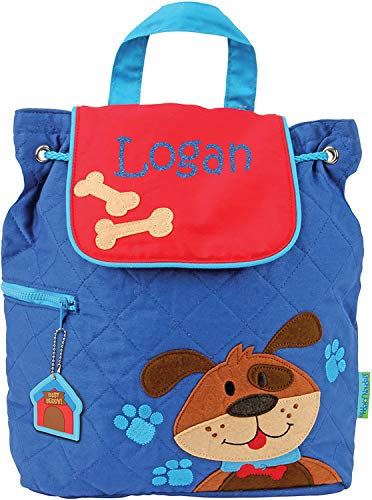- Monogrammed Me Personalized Quilted Backpack, Blue Dog, with Custom Glittery Name