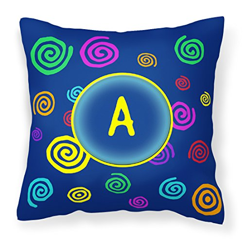 Caroline's Treasures CJ1011-APW1414 Letter A Monogram Blue Swirls Pillow, 14