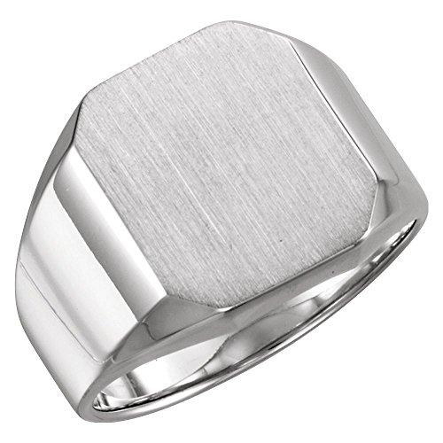 (Bonyak Jewelry 18k White Gold 16x14 mm Octagon Men's Signet Ring - Size 10.25)