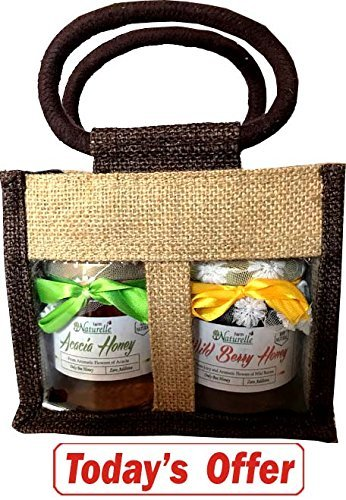 Farm Naturelle-Jute Gift Bag With Pure Raw Natural Unheated Unprocessed Forest Wild Berry Forest Flower Honey & Acacia Forest Flower Honey-Health Gift Item Pack-250 Gms X 2