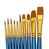 SOOKOO Artist Paint Brush Set 10pcs Nylon Hair Acrylic Professional Paint Brushes for Watercolor Oil Acrylic Painting