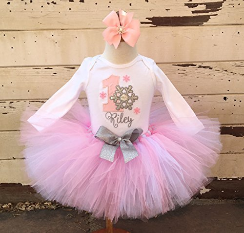 Pink & Silver Snowflake 1st Birthday Tutu Outfit- Winter Onederland -