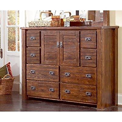 Progressive Furniture Trestlewood Dresser and Mirror in Mesquite Pine