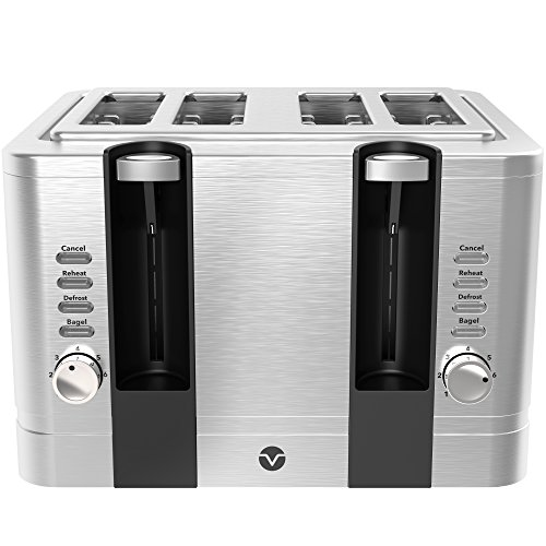 Vremi 4 Slice Toaster - Stainless Steel Wide Slots Removable Crumb Tray Adjustable Temp Control with Toast Defrost Reheat Pop Up for Large Bread Slices - Cool Retro Bagel Toasters - Silver and Black