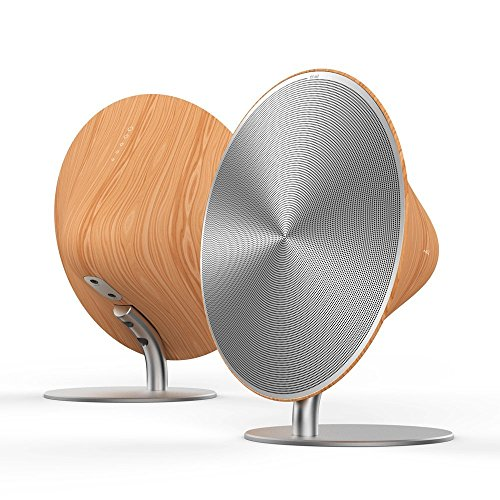 EMIE Solo One 2.0 Channel Wireless Wooden Bluetooth Speaker with Touch Control + 3.5mm Audio (Home Elegance Contemporary Curve)