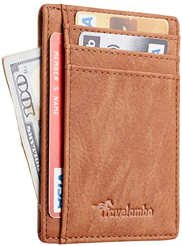 Travelambo Front Pocket Minimalist Leather Slim Wallet RFID Blocking Medium Size (Oldo Brown)