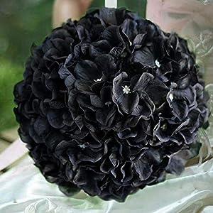 "Tableclothsfactory 4 Pack 7"" Black Silk Hydrangea Kissing Flower Balls Wedding Centerpieces Decoration 115"