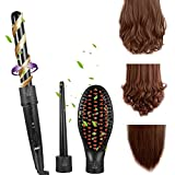 Curling Wand for Short Hair ACEVIVI 3-in-1 Hair Curler Curling Wand Hair Roller Set 100% Tourmaline Ceramic Interchangeable Iron Barrel and Hair Straightening Brush Hair Curling Iron Styling Iron Tong with Heat Resistant Glove