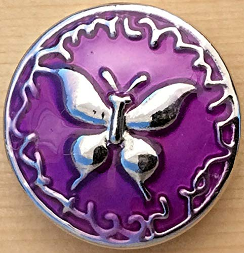 Snap Chunk Button 20MM Purple Butterfly Charm for Ginger Snaps Style Jewelry SE-1698
