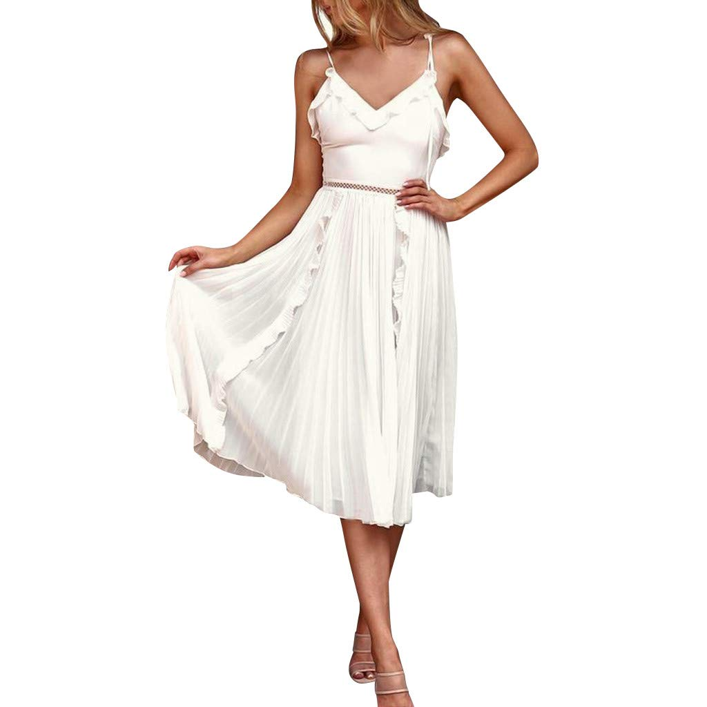 TRENDIANO Women's Cami Dress,Casual Pleated Solid V-Neck Ruched Sleeveless Summer Mini Ruffles Dresses White by TRENDINAO