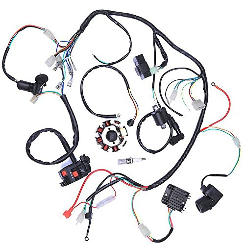 WPHMOTO Complete Electrics Wiring Harness Stator Coil CDI Wire Loom For 150cc-300cc ATV Quad Four wheelers Go Kart Dirt Pit bikes