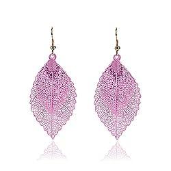 Trendy Rainbow Women Leaf Earrings Fashion Vintage Metal Boho Drop Earrings Jewellery Bijoux Femme (Pink)