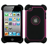 Snap-on Protector Hybrid Hard/Gel Case for Apple iPod Touch 4th Generation / 4th Gen - Pink/Black