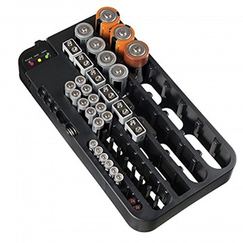 Massca Battery Organizer with Battery Tester, Battery Caddy AA AAA Battery (Black)