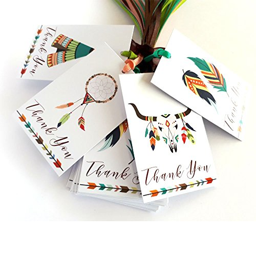 Bridal Semi Set - Tribal Boho Thank You Favor Tags - Wedding Bridal Baby Shower Birthday Tribe Party Gifts - Set of 24