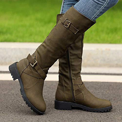 Chevalier Cuir Chaussures Boucle Armée Genou À Equitation Boots Plat Bottes Hauteur Femmes Du Verte En AYwx4