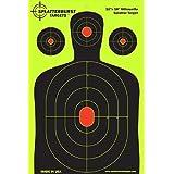 Splatterburst Targets - 12 x18 inch - Silhouette Reactive Shooting Target - Shots Burst Bright Fluorescent Yellow Upon Impact - Gun - Rifle - Pistol - Airsoft - BB Gun - Air Rifle (50 Pack)