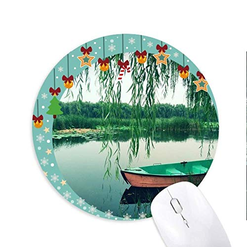 Willow Leaf Boat Lake Photography Mouse Pad Jingling Bell Round Rubber Mat