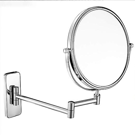 espejo doble plegable de 8 pulgadas espejo para afeitarse espejo de maquillaje con aumento 10 veces ba/ño de cobre plateado espejos de pared