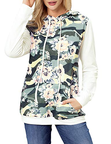 Blossil Women's White Crewneck Hooded Sweatshirt Floral Long Sleeve Pullover Hoodie L(US 12-14)