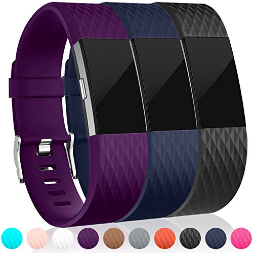 Maledan Replacement Bands (3 Pack) for Fitbit Charge 2, Large