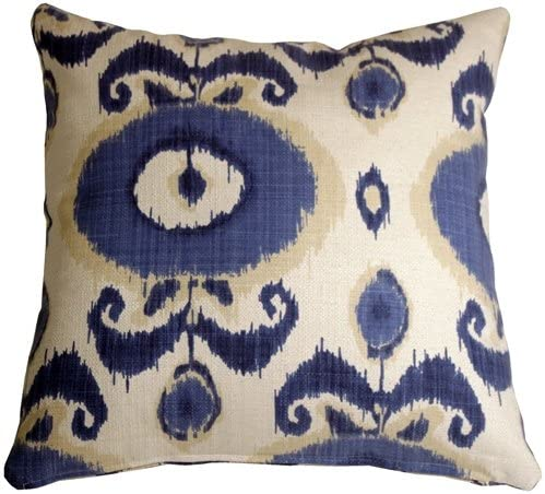 Pillow D COR Bold Blue Ikat 20×20 Decorative Pillow