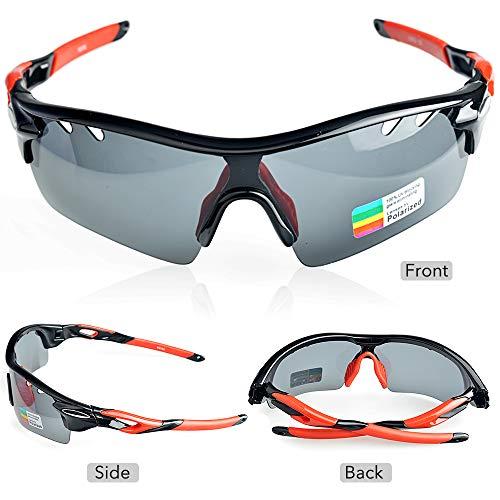 Gafas de Ciclismo, Hubo de Protección UV400 Gafas de Running con 2 Lentes Intercambiables de Deporte para Hombres y Mujeres Ciclismo, Conducción, Pesca, ...