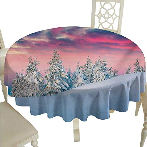 Round Tablecloth Winter Idyllic Scenery in Snow Covered Serene Mountains Pine Tree Forest Majestic Sky Washable Tablecloth D54 Suitable for picnics,queuing,Family