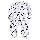Baby Girl Boy Cotton White Panda Print Romper Coverall Long Pant Bodysuit