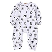 Baby Girl Boy Cotton White Panda Print Romper Coverall Long Pant Bodysuit (12-18M)
