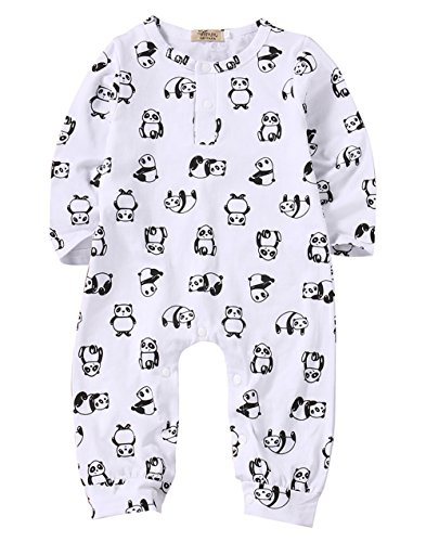 [Baby Girl Boy Cotton White Panda Print Romper Coverall Long Pant Bodysuit (3-6M)] (Panda Outfits For Babies)