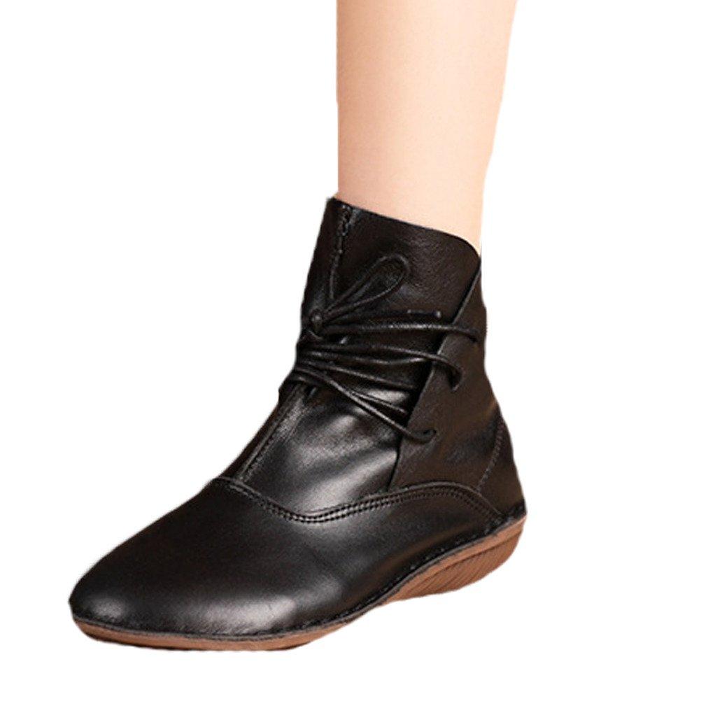 Vogstyle Botas de Cuero Para Mujer Nuevos Zapatos PlanosEU41-42/CH42|Estilo 1 Negro